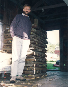Myself with the old logs shortly after purchasing them in 1991